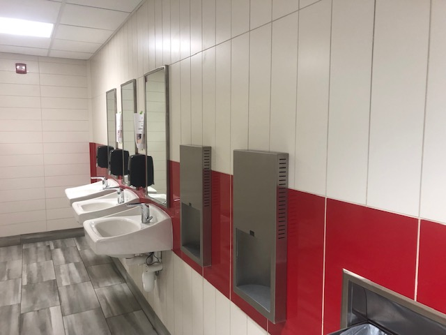 Interior view of renovated sinks ACC bathroom