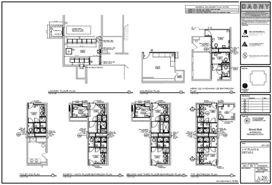 Hood Hall Renovation Floor Plan Bathrooms