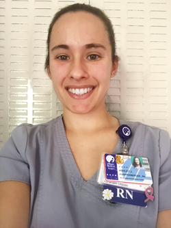 Portait of Ashley Knappenberger in her nursing uniform