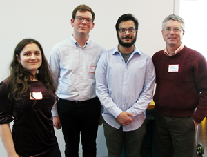Group photo of Gess Iraji, Franquiz Alba, Uday Singh, and Professor Gregory Quenell