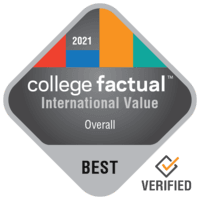 College Factual best overall value for interntional students badge