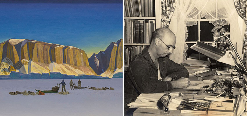 Image of a Rockwell Kent painting of the artic and Rockwell Kent at work in his studio