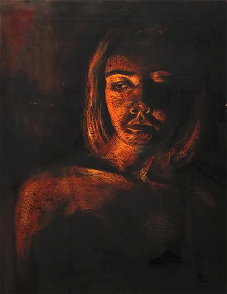 Elsa Koop-Angelicola Charcoal, Nupastel, Acrylic, 2020