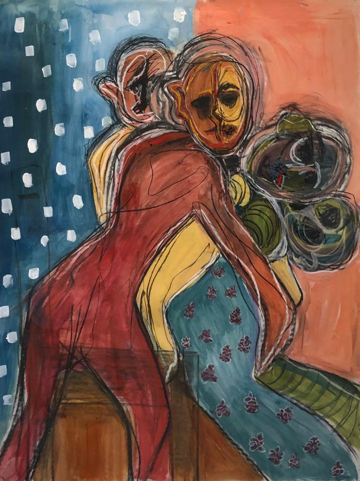 Erin Doescher Acrylic, Oil Pastel and Charcoal on Paper 2019