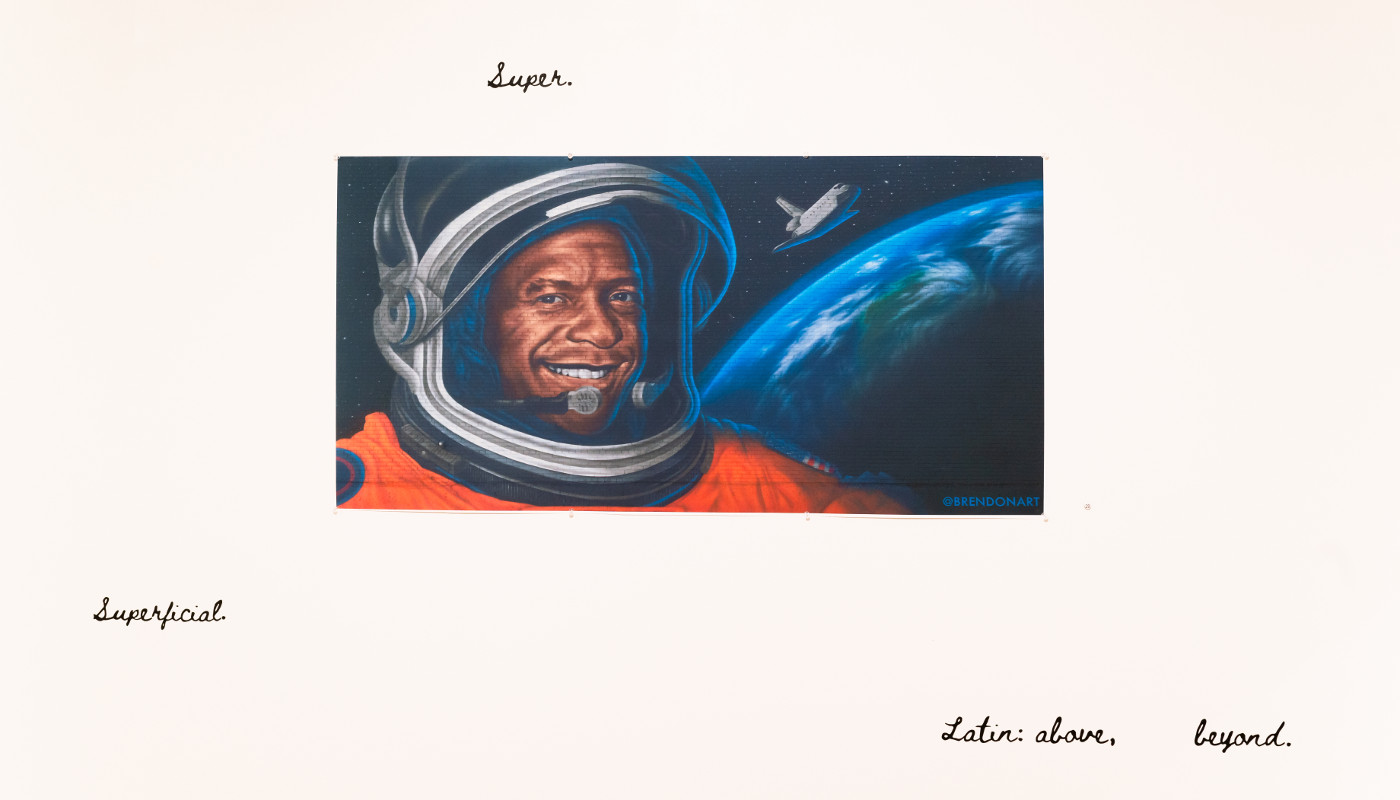 A picture of a painting of an astronaut.