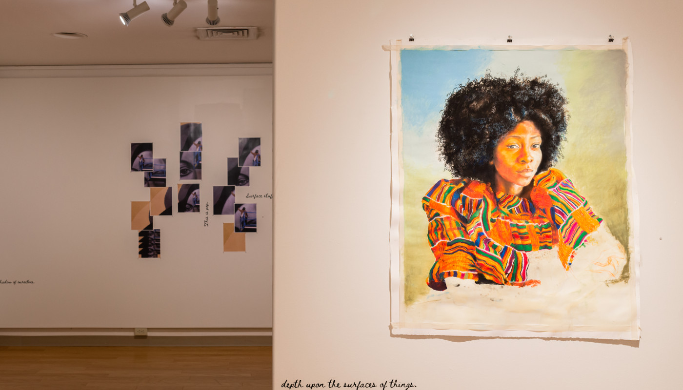 Painting of a woman, with a collage piece in the background from the POP for the People, Spring 2021.
