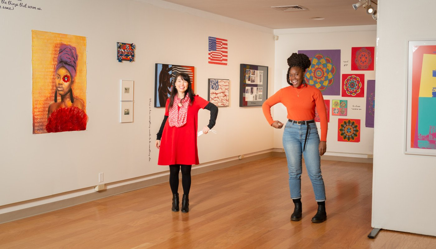Painting of a woman with student artist and exhibit curator from the POP for the People, Spring 2021.