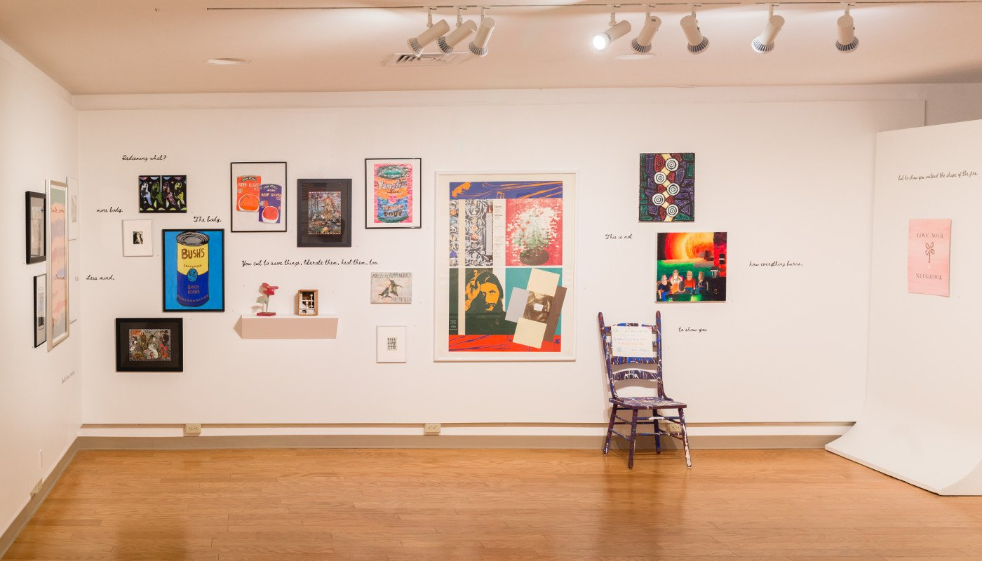 A variety of paintings and a sculpture from the POP for the People, Spring 2021.