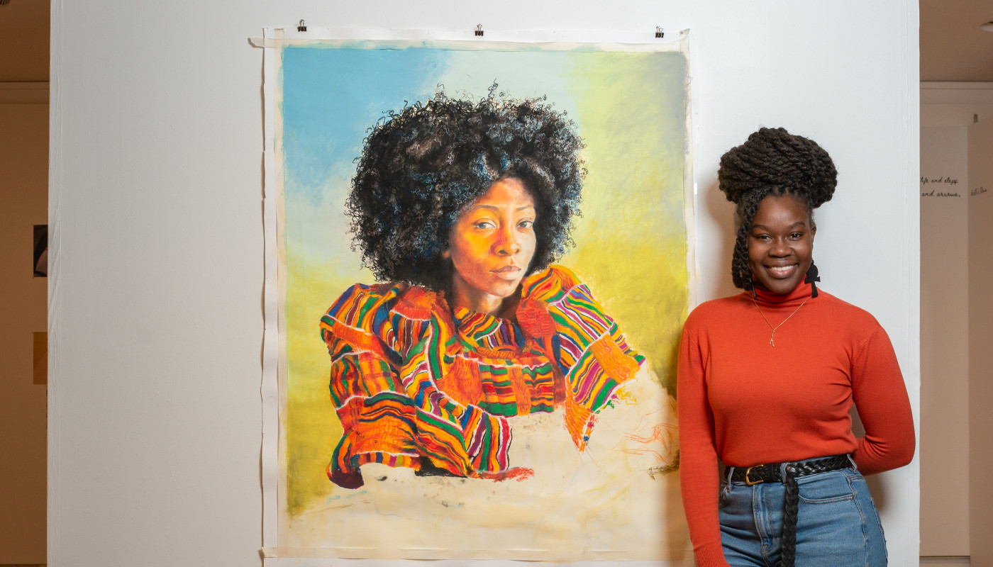 Painting of a woman with student artist from the POP for the People, Spring 2021.