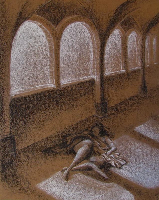 Drawing of a person draped in cloth lying in a hallway with open arches.