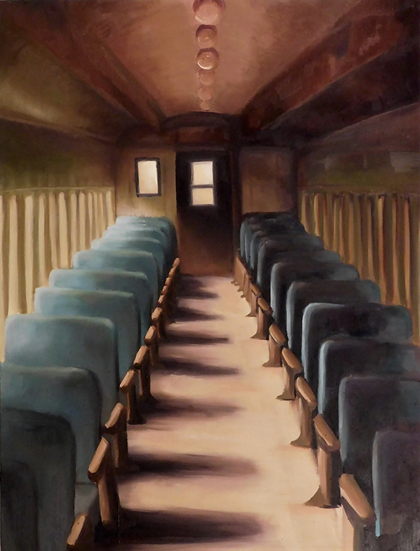 A painting of a caboose interior from one door. Seats are blue-gray, and the interior uses a red-brown and tan pallet.