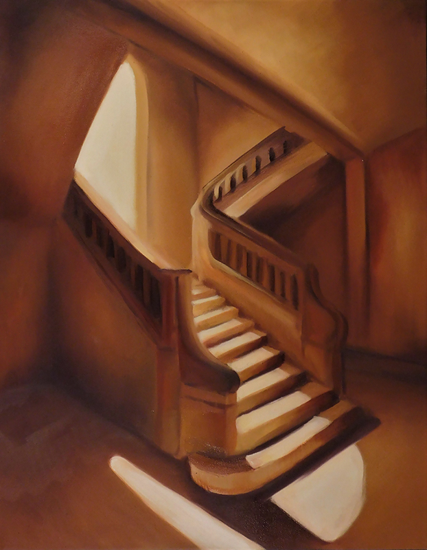 A painting of a stairwell and landing using orange and yellow paint.