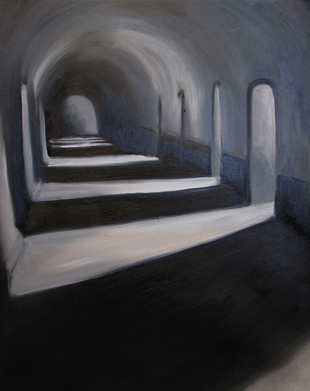 An image of a long hallway with open door archways.
