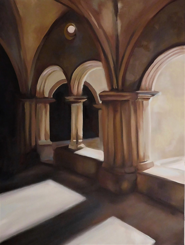 A painting of a walkway with open arches and columns.
