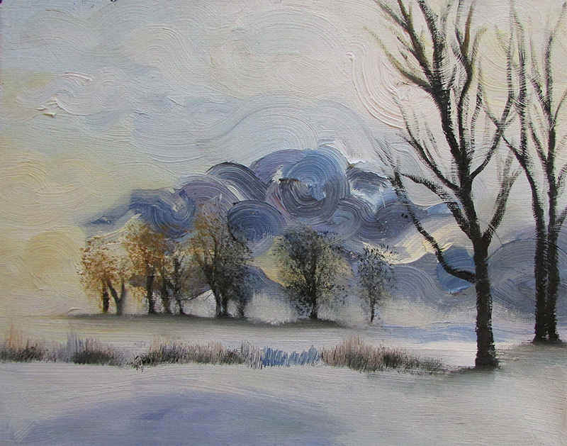A painting of winter trees and grass sticking up through the snow. There are blue swirls in the paint, giving it a wind-like feel.