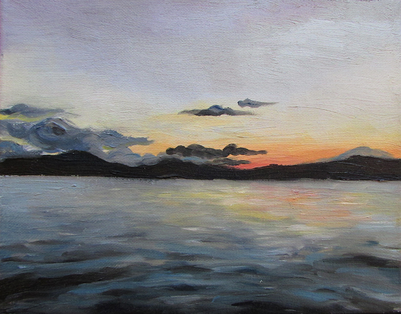 A painting of Lake Champlain.