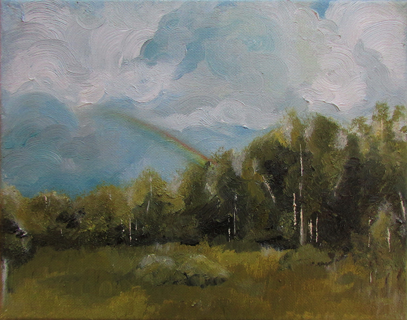 A painting of a forest scene from a clearing. The trees are green, the sky is partly cloudy, and a rainbow can be seen.