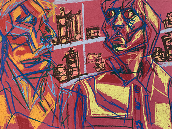 Drawing of two people looking at each other on red paper.