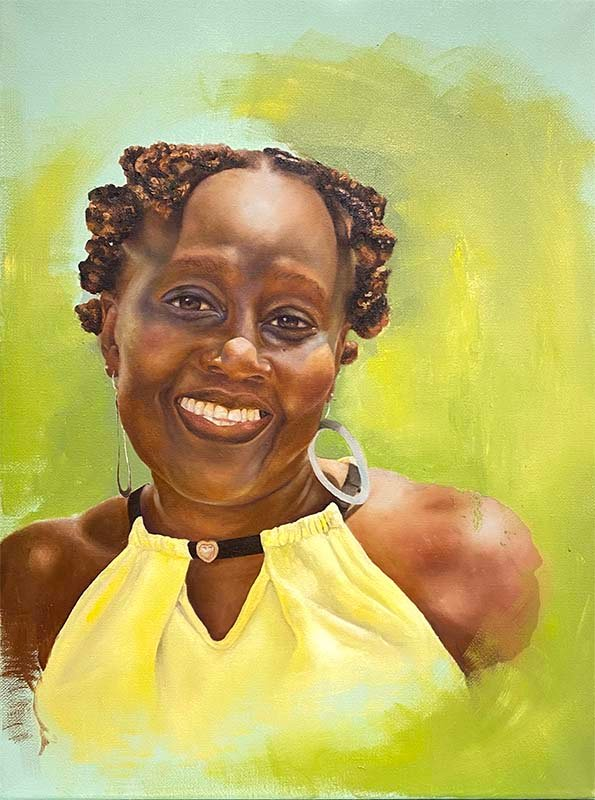Painted portrait of an Antiguan woman wearing a yellow dress. The colors represent parts of the Antiguan flag.