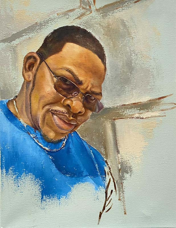 Painted portrait of an Antiguan man wearing a blue shirt, sunglasses, and a gold chain. The colors represent parts of the Antiguan flag.