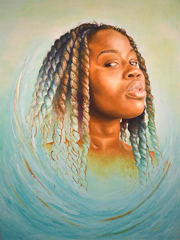 Portrait of an Antiguan woman with long, braided strands of hair. The colors represent parts of the Antiguan flag.