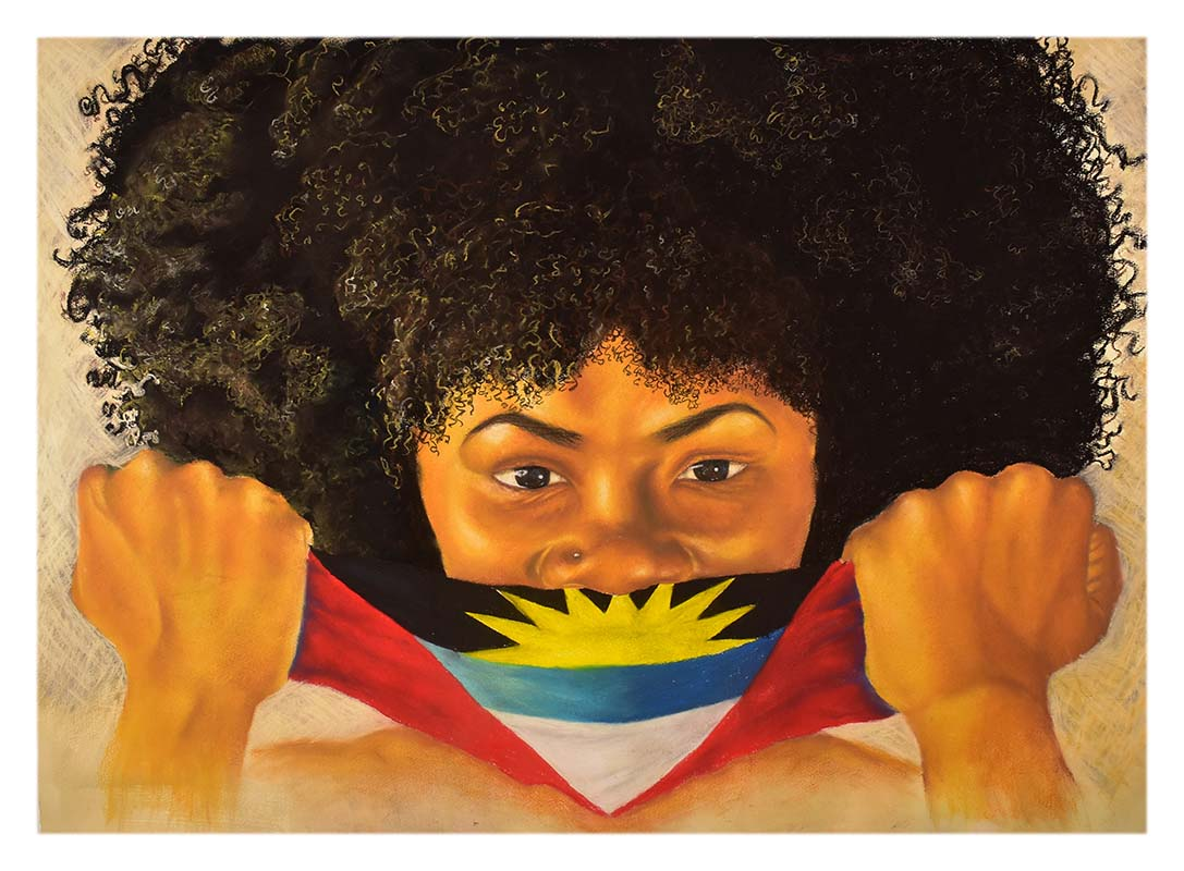 Portrait of an Antiguan woman holding a mask with the flag of Antigua and Barbuda on it.