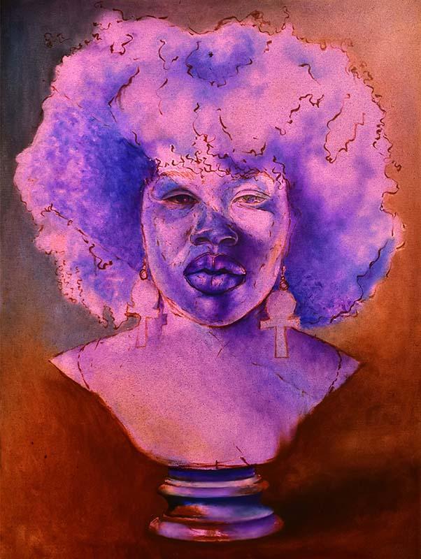Portrait of a purple bust in the shape of an Antiguan woman's head. She's wearing two dangling earrings in the shape of closed ankhs.