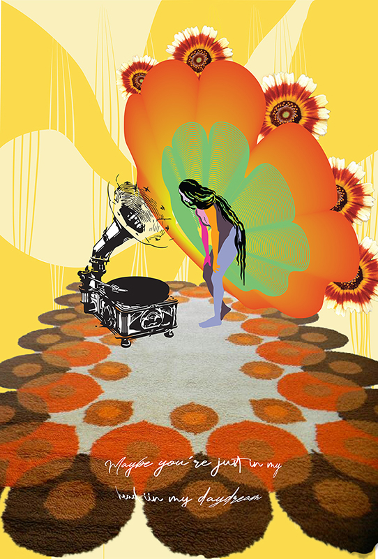 Design of a line art phonograph with a woman listening to it. Her upper torso is line art, with the rest of her blocked out with colors (pink, orange, purple, and brown). She's on a group of brown, orange and off white circles that look like carpet texture, while a flower-like motif of green and orange is behind her. The tips of the flower has bright red, orange and white flowers, and the background is two-tone yellow.