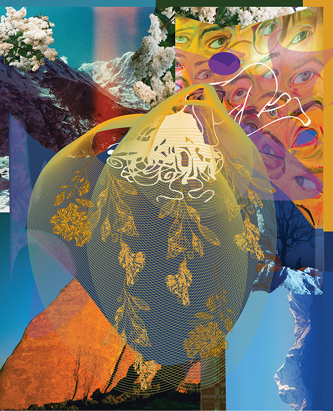 Collage of images including skies, mountains, eyes, and flowers with a mesh-like image in the center.