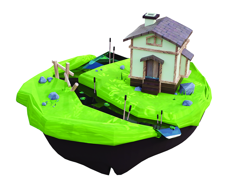 A sculpture of a house with a river running by on a floating island.