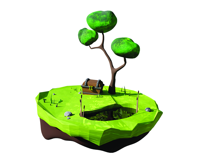 A sculpture of a tree scene with a treasure chest and a whole in the ground on a floating island.