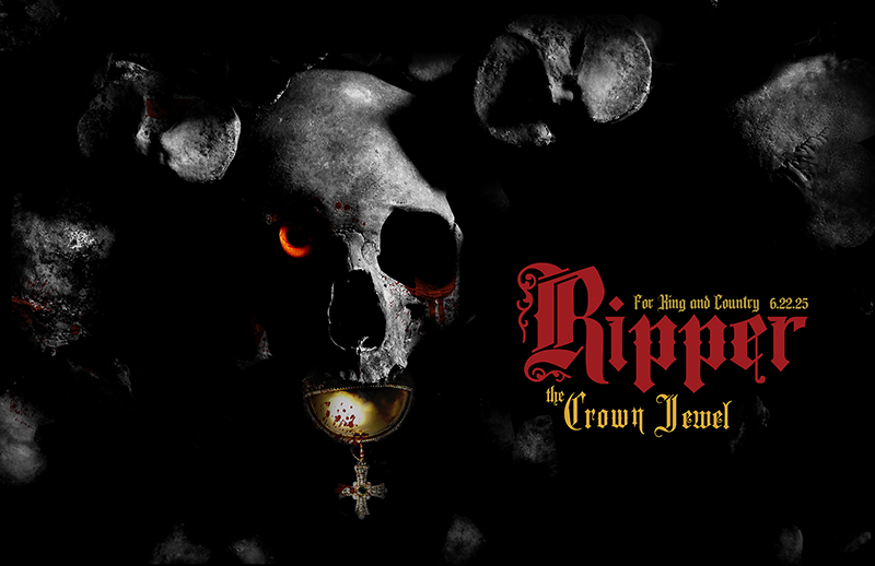 Promotional graphic with black background and a  skull with a red eye.