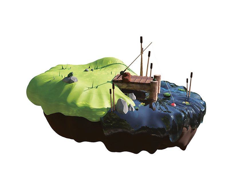 A sculpture of a simple dock scene on a floating island.