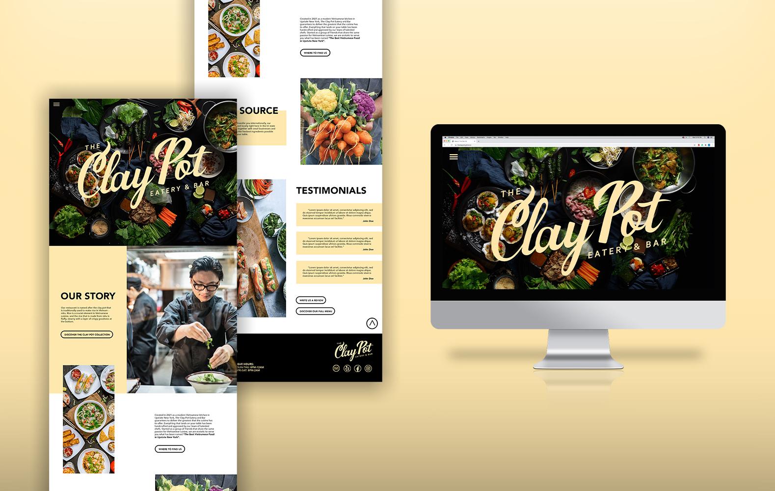 "Design mockup of ""Clay Pot"" website."