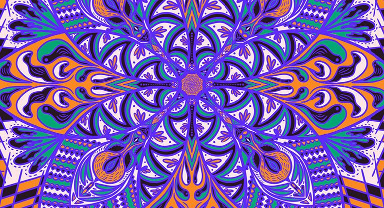 Patterned swirls of orange, green, and purple.