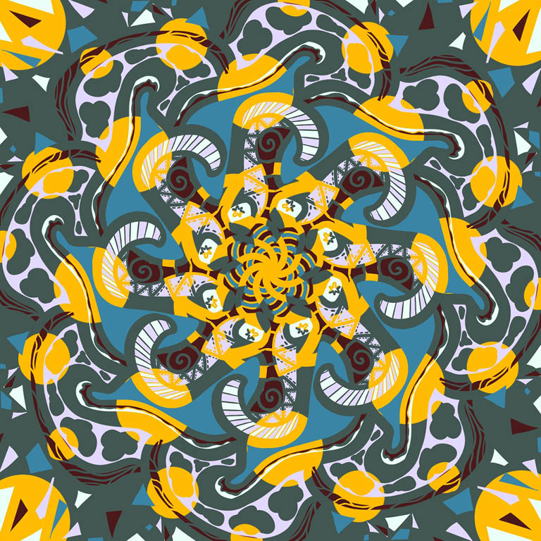 Patterned swirls of green, blue, yellow and white.
