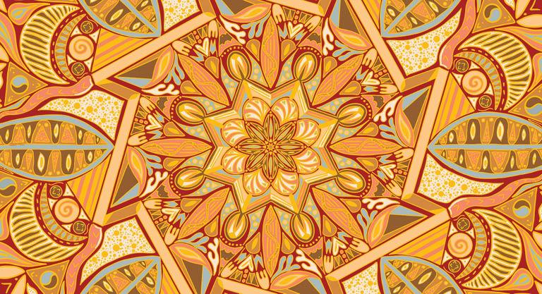 Patterned swirls of yellow, orange and grey-blue.