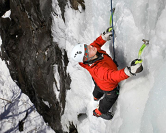 Photo of student ice climbing