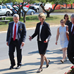 Photo shows Chancellor Kristina Johnson touring the SUNY Plattsburgh campus