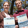 Photo of SUNY Plattsburgh students James Effron and Krystle Morey holding copies of DoNorth magazine