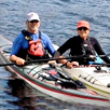 Photo of Laurence Soroka and Cerise Oberman kayaking on Lake Champlain.