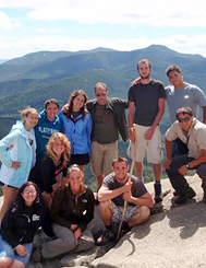 Photo of SUNY Plattsburgh students hiking in the mountains