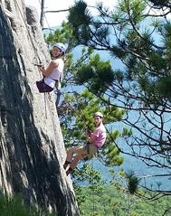 Photo of SUNY Plattsburgh students rock climbing