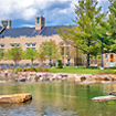 Photo of Hawkins Hall and pond in the summer sunlight