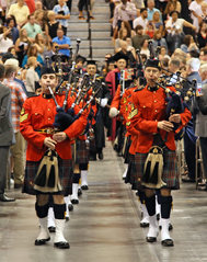 Pipers marching at comencement ceremony