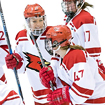 Plattsburgh State Women's Ice Hockey team celebrates their victory