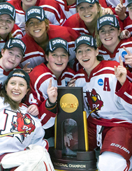 Plattsburgh State Women's Ice Hockey team 2015 champs.
