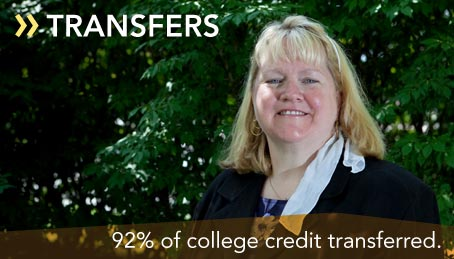 92% of college credit transferred