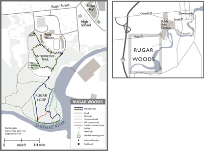 Map of Rugar Woods trails. Click to see a larger version of the map.