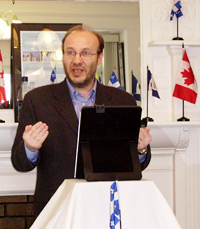 Dr. Jocelyn Létourneau speaking at a recent lecture